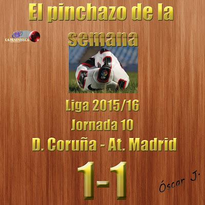 Deportivo Coruña 1-1 Atl. Madrid. Liga 2015/16. Jornada 10. El pinchazo de la semana.