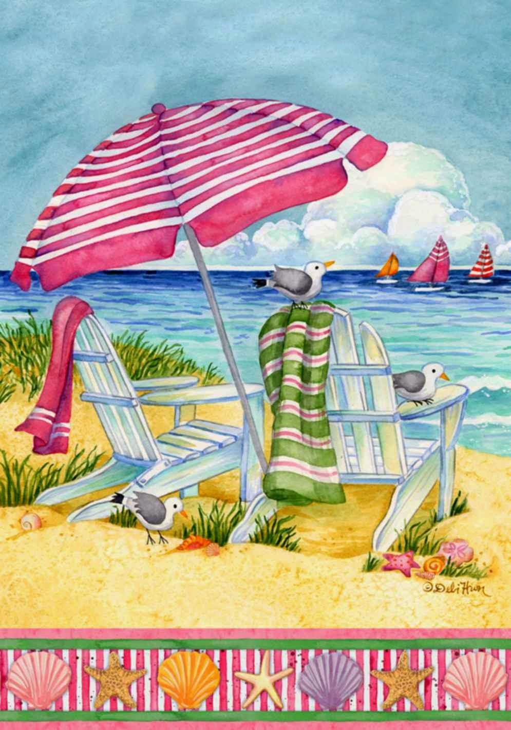 coastal escape summer garden flag