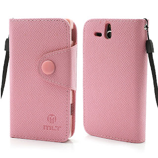 Leather Case Wallet Credit Card Slot Sony Xperia U ST25i - Baby Pink