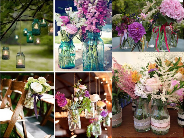 Wedding Jars with flowers and candles