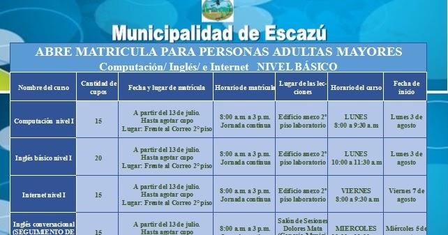 Escazu news cursos para adultos mayores en la for Municipalidad de avellaneda cursos