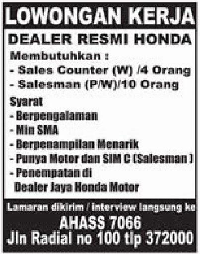 Lowongan Kerja Palembang - Dealer Resmi Honda
