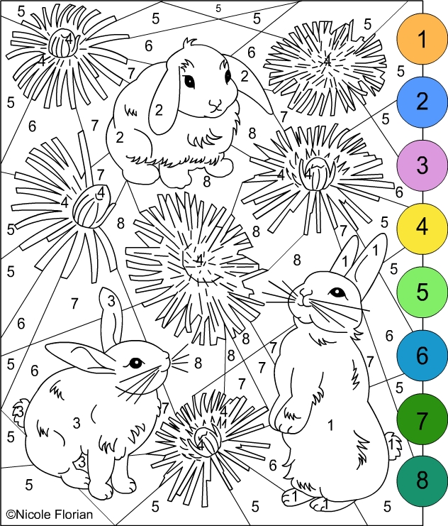 Bunny Color by Number Coloring Pages high resolution
