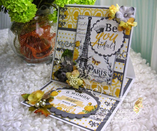 last view card with petaloo and authentique papers