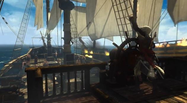 Edward Kenway at wheel of ship in Assassin's Creed IV: Black Flag