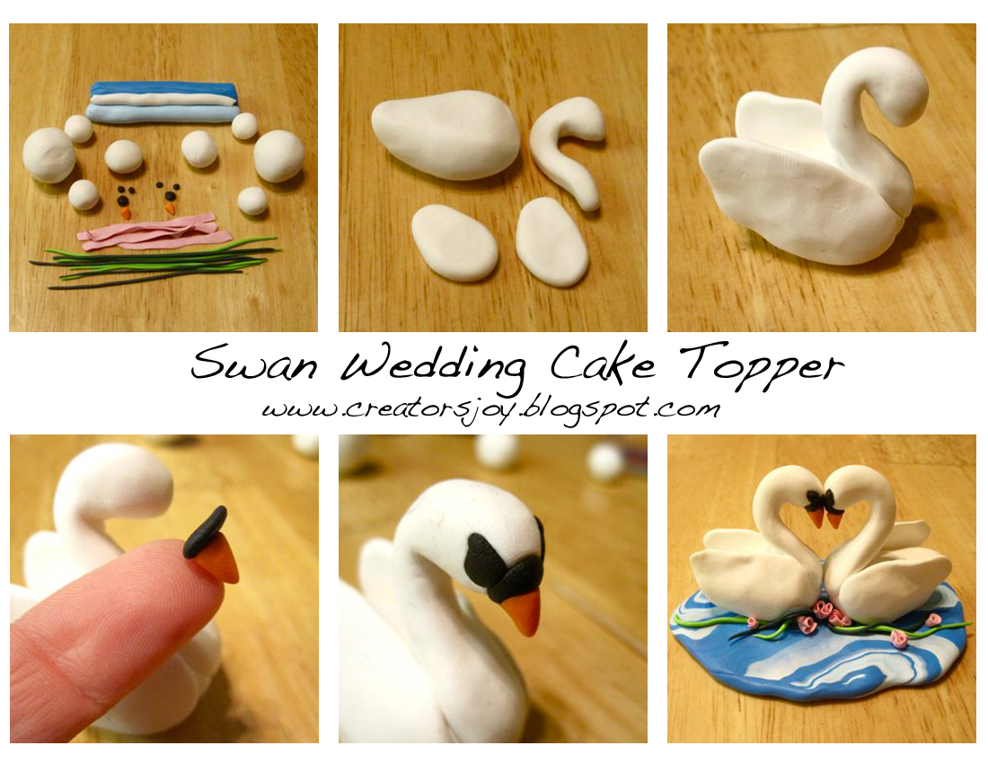 creator 39 s joy polymer clay or fondant swan wedding cake topper tutorial page. Black Bedroom Furniture Sets. Home Design Ideas