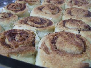 Baked Cinnamon Rolls in pan before frosting