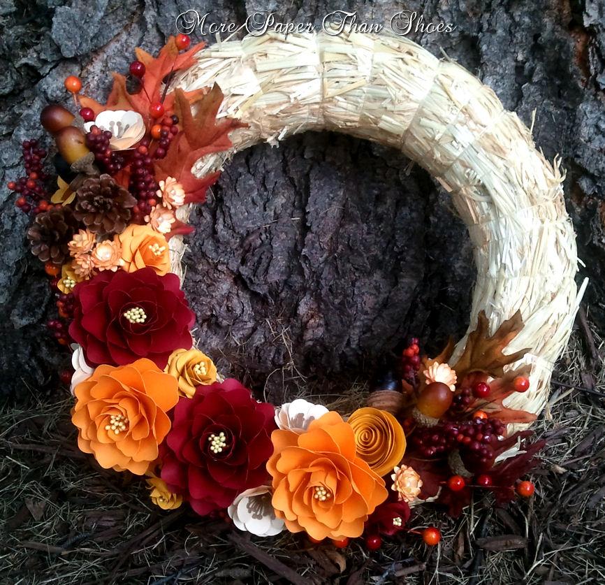 Anna Fearer: Handmade Paper Flower Wreath - Fall