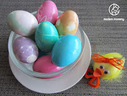 Sophie and I made Basic Easter Eggs, Marbled Eggs, Crayon Design Eggs, . easter eggs