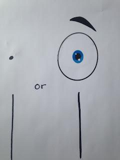 Teaching preschoolers the word I with an eye ball