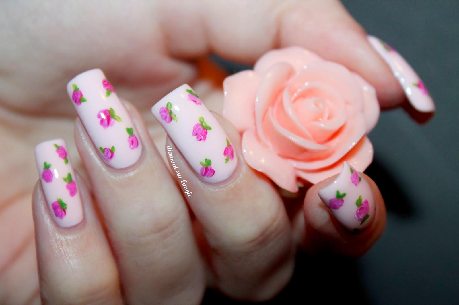 Vintage Pastel Pink Flower Nail Art