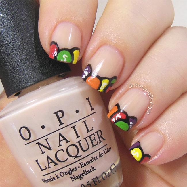 Skittles nail art