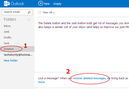 how to get back deleted emails outlook