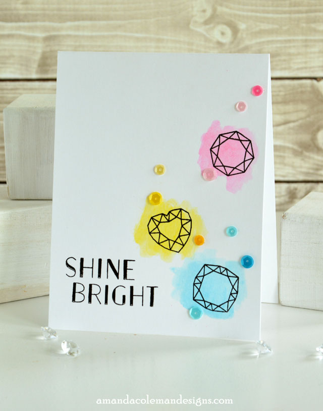 Easy watercolor card using Gelatos and Waffle Flower stamps.