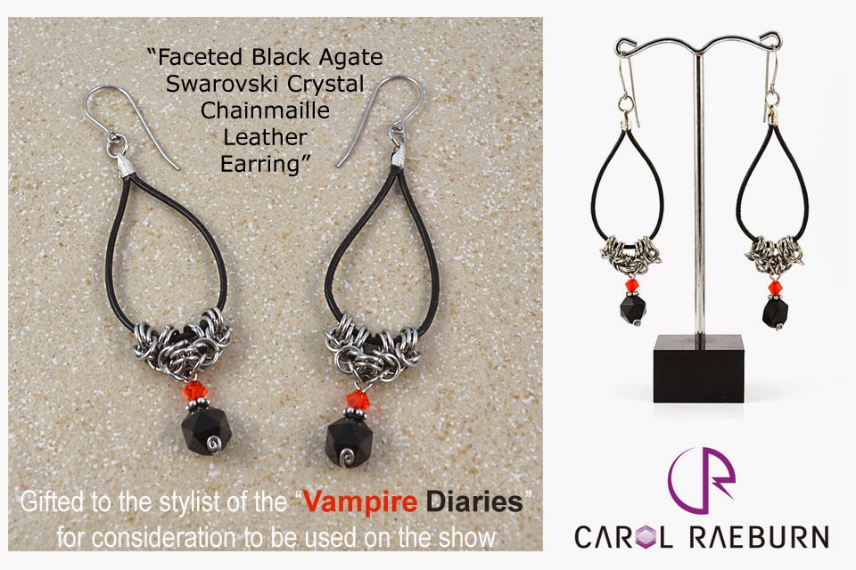 Faceted Black Agate Chainmaille Earring