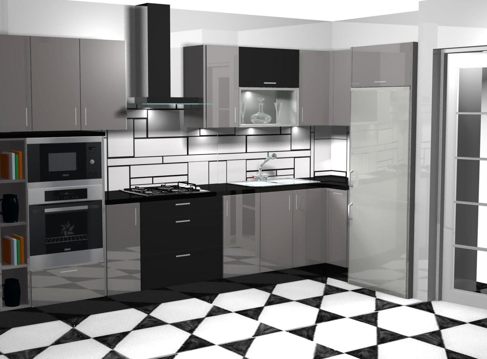 Dise o de cocina en alto brillo gris y negro for Aplicacion para diseno de cocinas