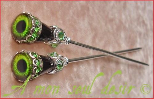 Pics à Cheveux gothique oeil yeux bijoux Gothic Eyes Hair Sticks Pins