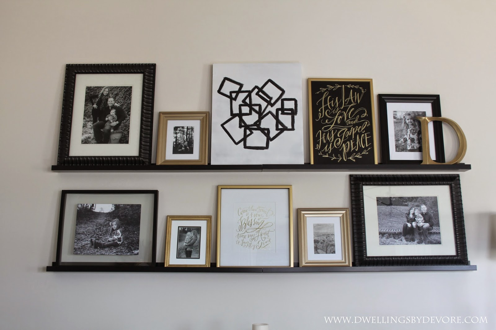 Dwellings by devore picture ledge gallery wall for Gallery wall shelves
