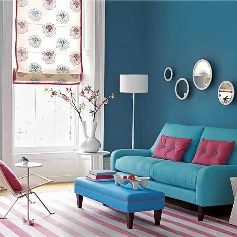 Azul na decora o mo a fresca for Sala de estar turquesa