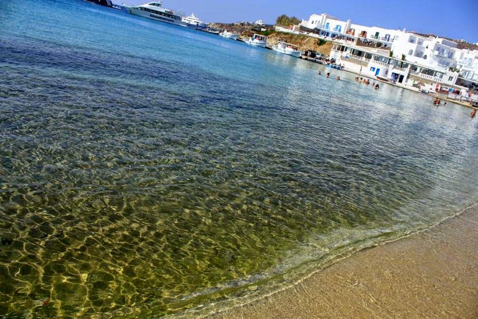 Platys Gialos beach in Mykonos