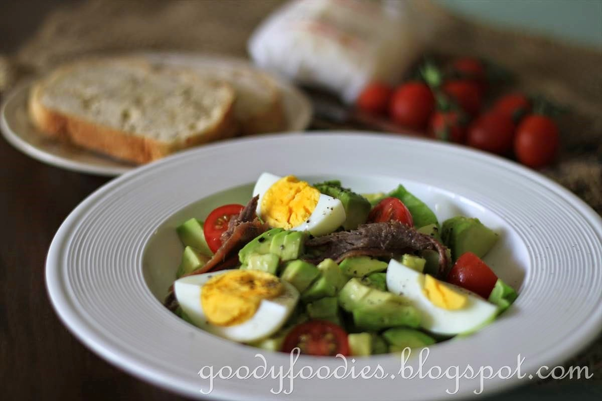 GoodyFoodies: Recipe: Avocado Salad with Anchovy & Egg