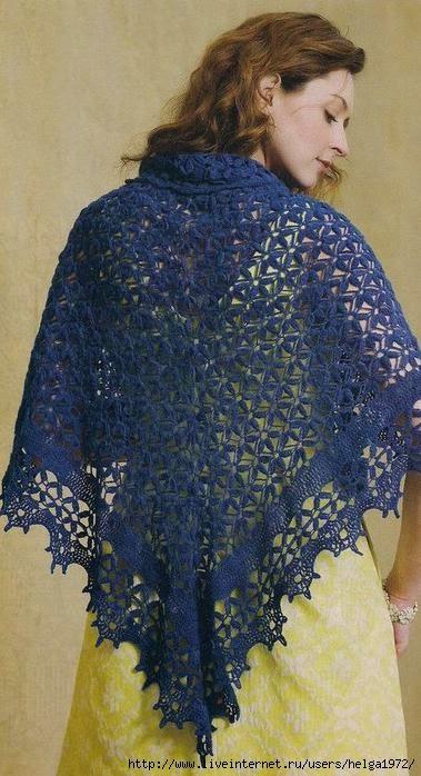 Chal azul fino con hermoso diseño crochet