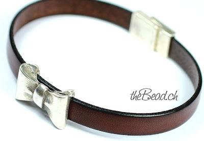 Echtleder Armband in Braun  mit Schleife und Magnetverschluss