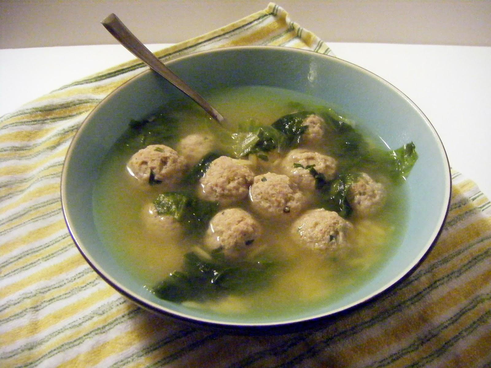 shellmo: Delicious Escarole Soup with Turkey Meatballs