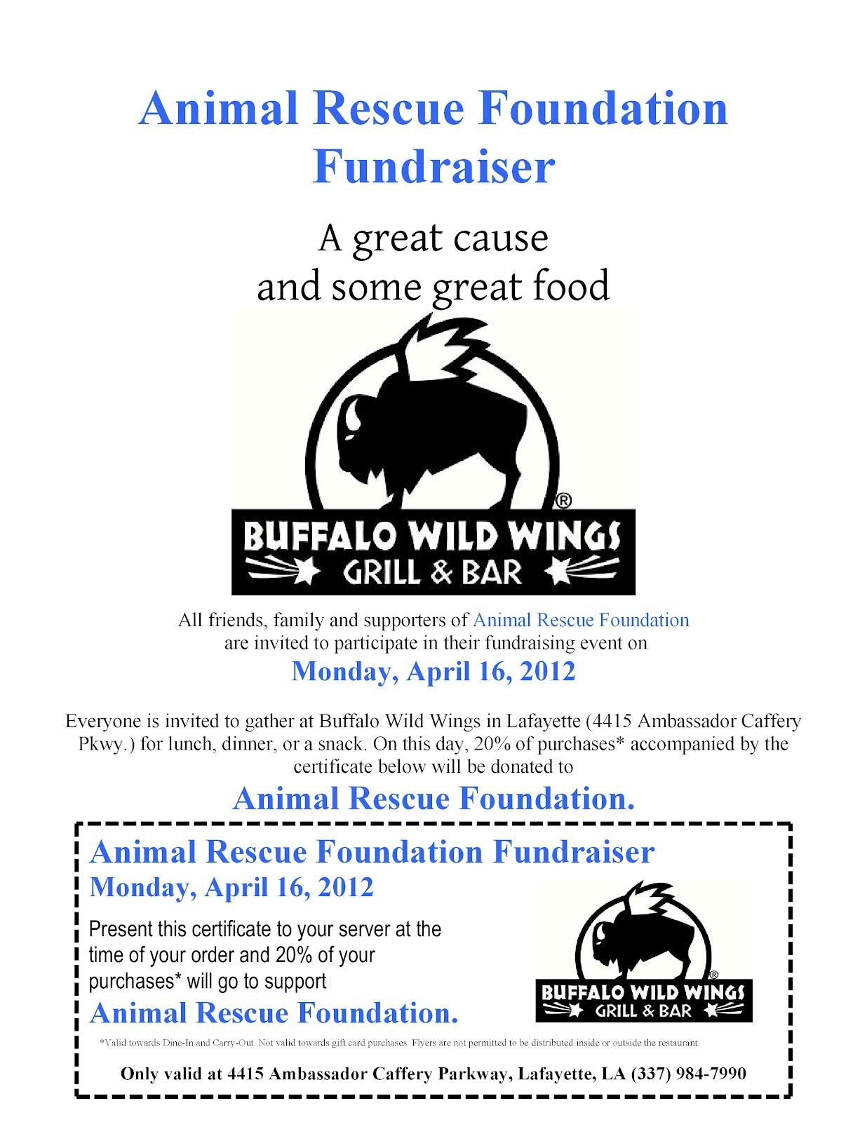 ARF-LA, Animal Rescue Foundation of LouisianA: Buffalo Wild Wings ...