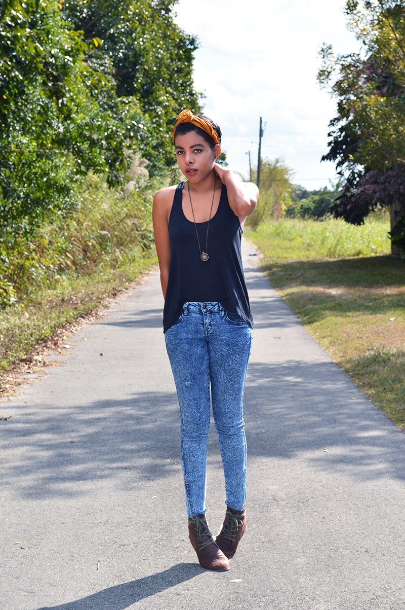 Fashion Blogger Anais Alexandre of Down to Stars wearing a Primark scarf with Forever 21 top, pants and boots