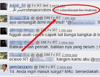 trik cara update status twitter via Ubersocial for Android terbaru 2012