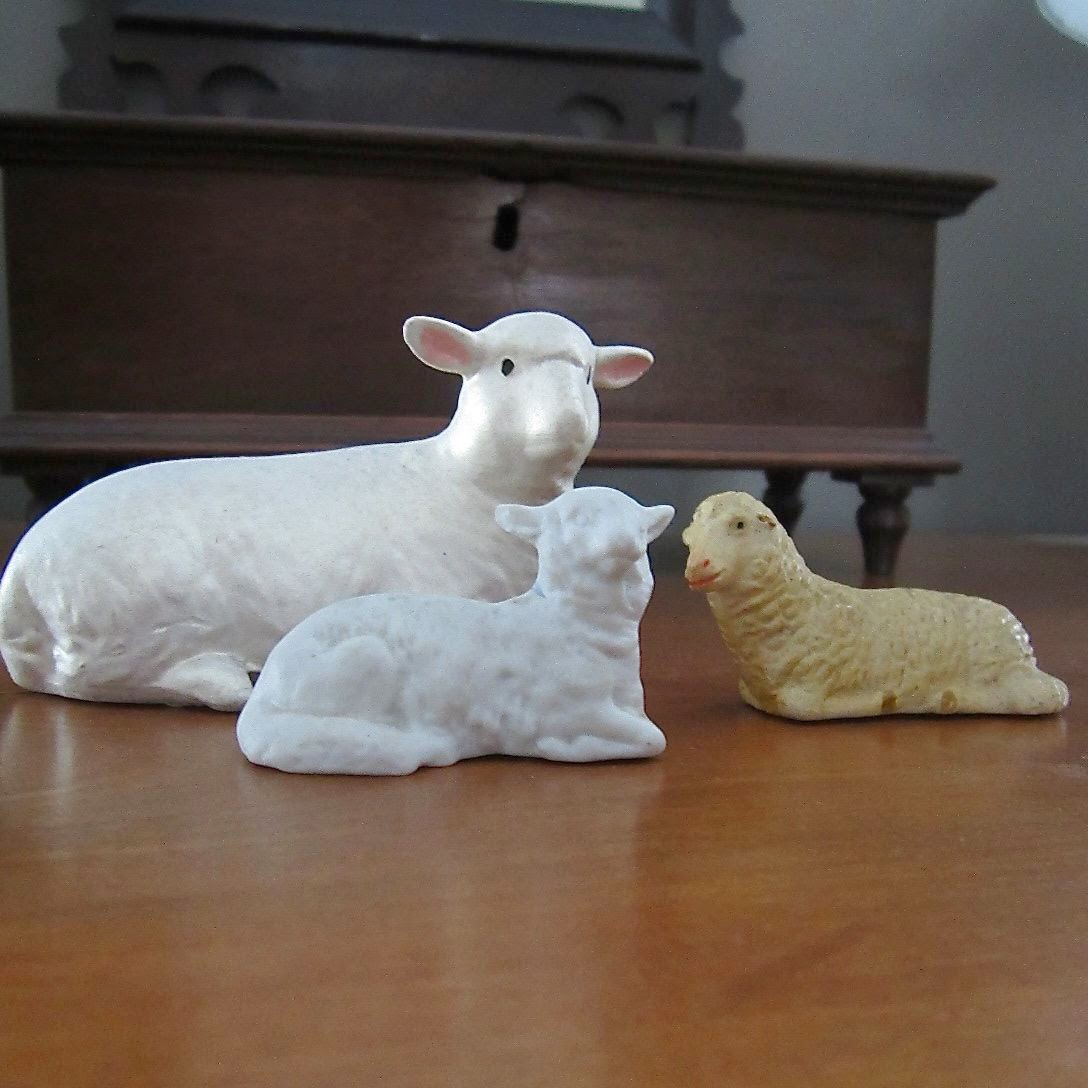 reclining vintage sheep