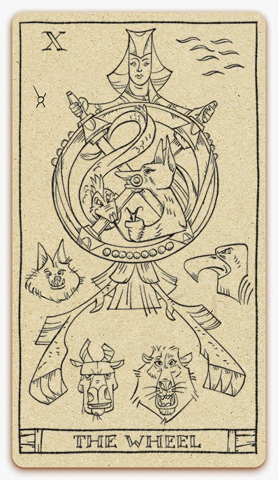 The Wheel of Fortune card - inked illustration - In the spirit of the Marseille tarot - major arcana - design and illustration by Cesare Asaro - Curio & Co. (Curio and Co. OG - www.curioandco.com)