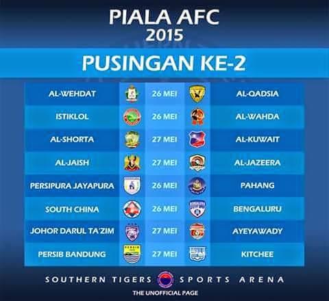 Jadual Perlawanan AFC Cup 2015 Pusingan Kedua
