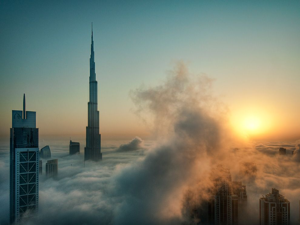 Example: The hot city of Dubai lies next to the Persian Gulf and Arabian Sea intersection in the Middle East. The warm air advects off the coastline and cools over the sea surface, where condensation begins to form and produces sea fog.