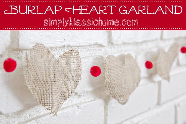 Valentine's Day Burlap Heart Garland