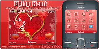 Flying Heart C3 by ZayedBaloch Download Tema Nokia C3 Gratis