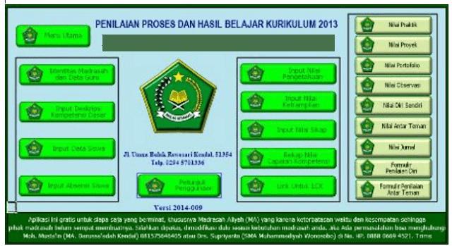 Download Aplikasi Nilai dan Raport MA Kurikulum 2013 Terbaru