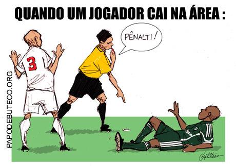 Charge jogador caido na área, charge penalti