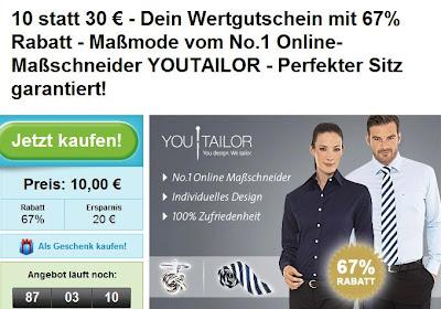 Groupon: YouTailor-Gutschein im Wert von 30 Euro für 10 Euro, Maßmode zum Schnäppchen-Preis