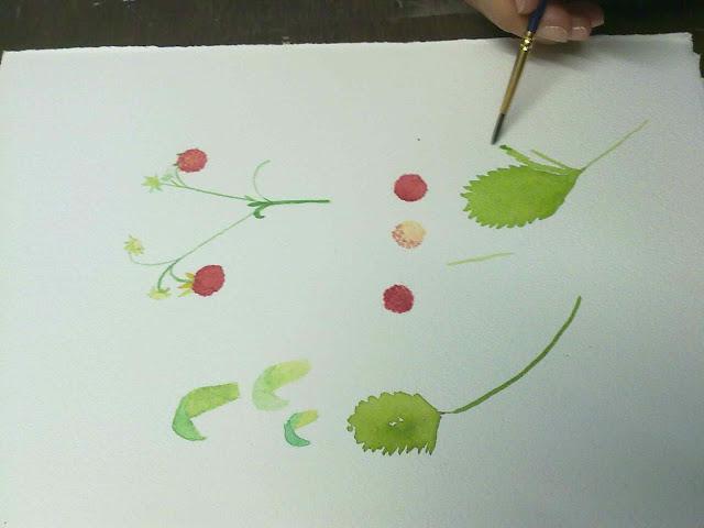 fresas con acuarela