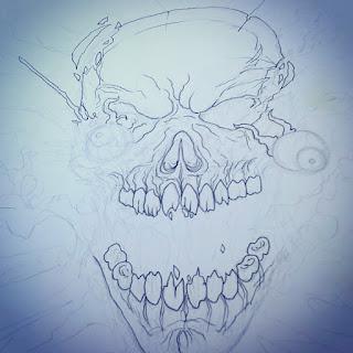illustrating exploding skull
