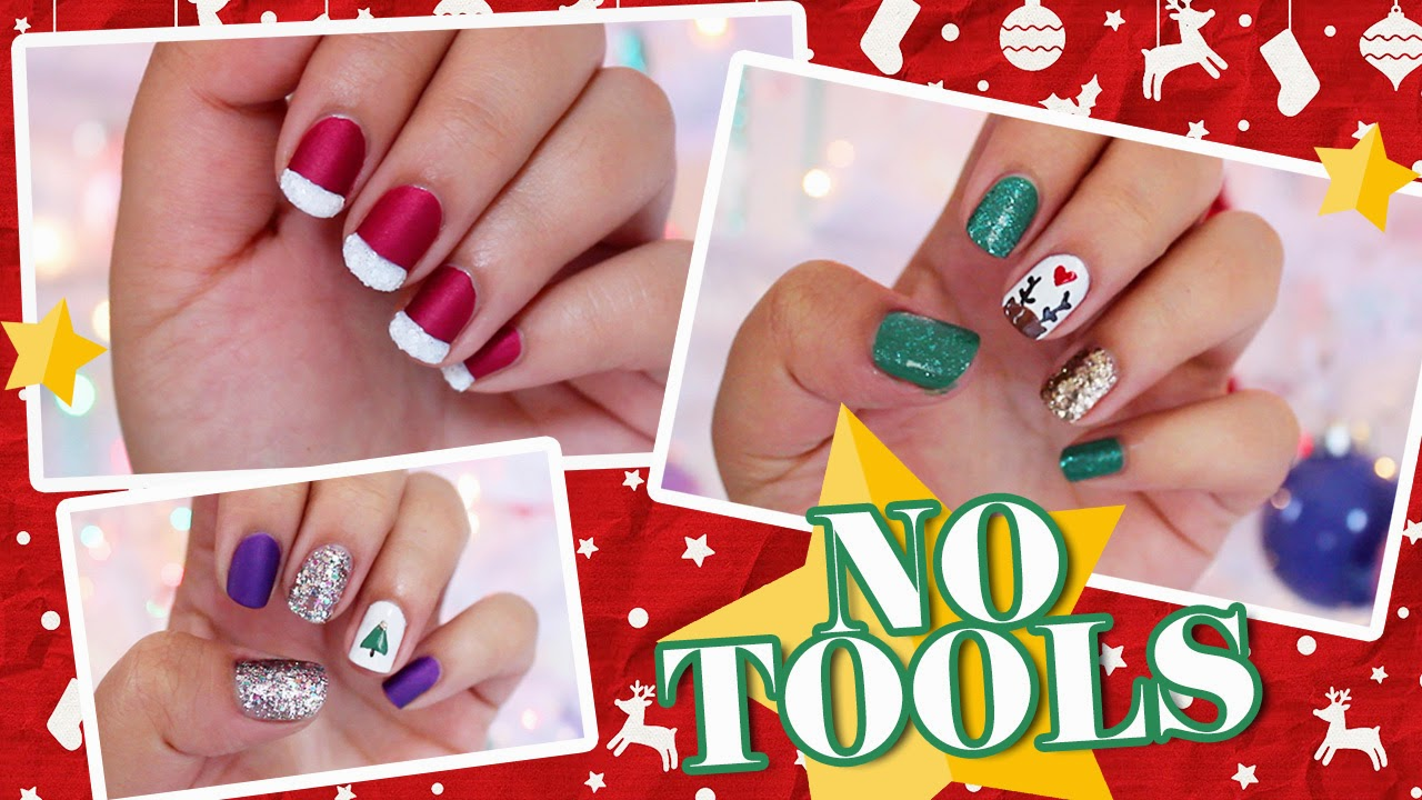 3 Easy NO TOOLS Christmas Nail Art