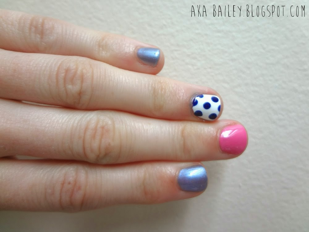 akaBailey, Blue and pink nails with polka dot accent nail