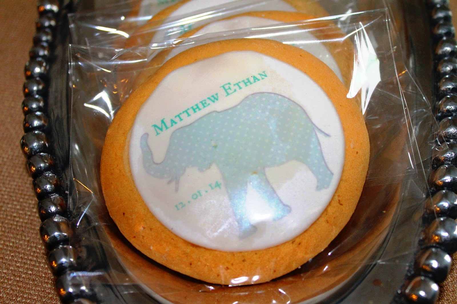 personalized cookies elephant baby shower theme