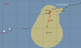 Pot. Tropischer Sturm CLAUDIA bedroht Mauritius und La Reunion nicht, Claudia, aktuell, Vorhersage Forecast Prognose, Zyklonsaison Südwest-Indik 2012 2013, Dezember, 2012, Mauritius, Verlauf, Zugbahn, Indischer Ozean Indik,