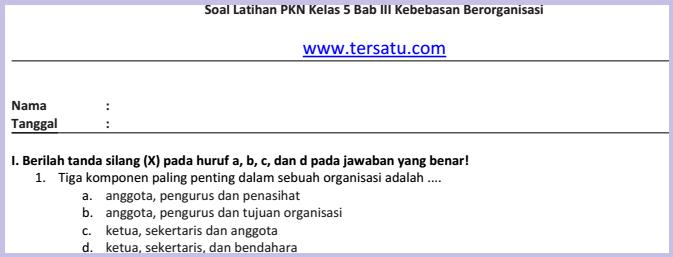 Soal-Soal ulhar PKN KTSP Kelas 5 Semester 2