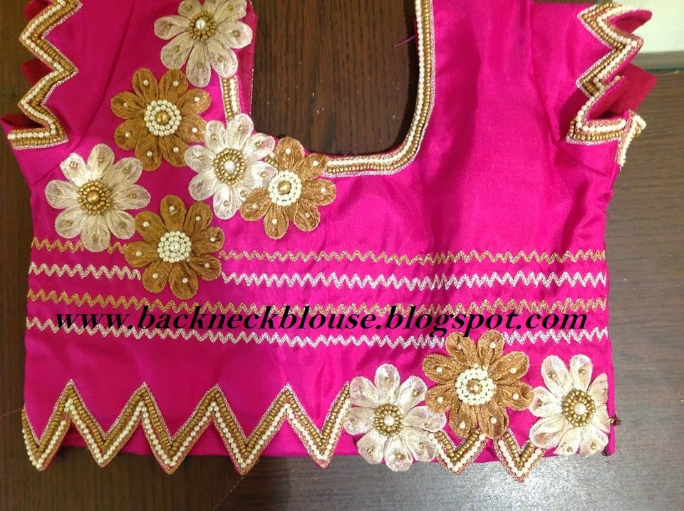 pink patch work designer embroidery work blouse