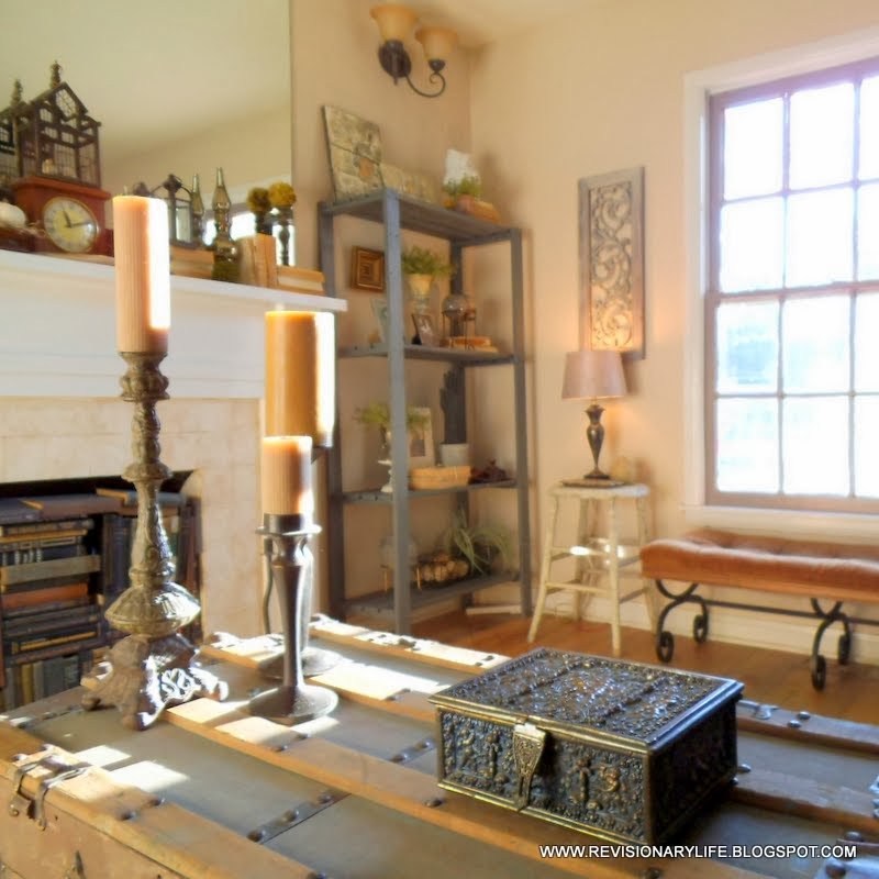 Elegant Eclectic Industrial Living Room Transitioning to