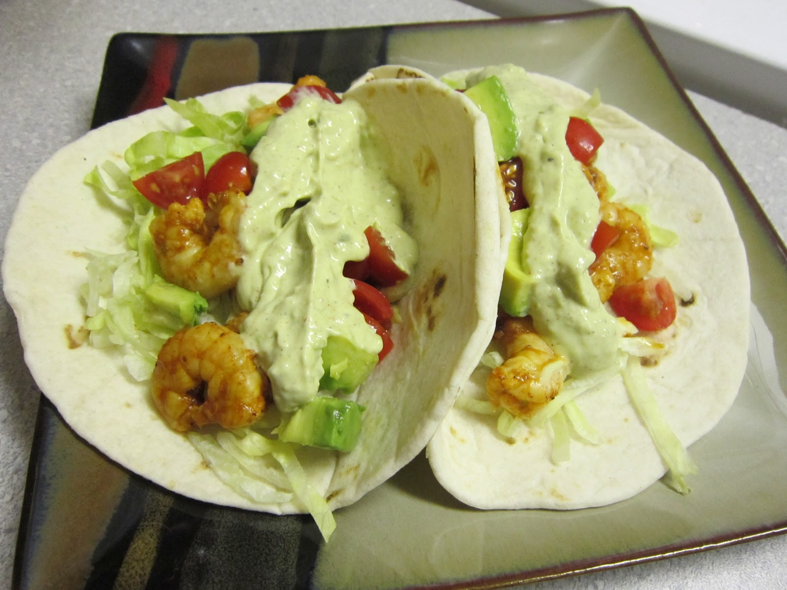 ... : Spicy Citrus Shrimp Tacos with Southwest Avocado Cream Sauce